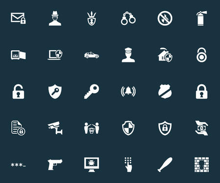 Vector Illustration Set Of Simple Secure Icons. Elements Pistol, Dartboard, Tracking Camera And Other Synonyms Dollar, Bell And Surveillance.