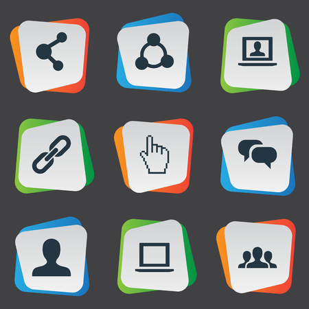 Vector Illustration Set Of Simple Social Media Icons. Elements Publish, Notebook, Profile And Other Synonyms Social, Inbox And Chain.