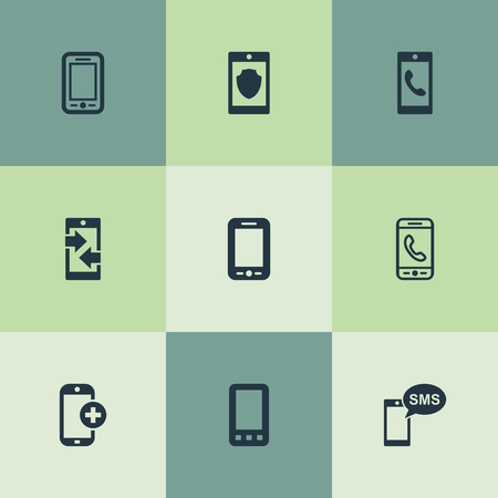 Elements Calling, Safeguard, Missive And Other Synonyms Safeguard, Connection And Technology.  Vector Illustration Set Of Simple Telephone Icons.