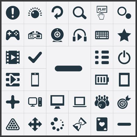 Elements Sound, Ace, Asterisk And Other Synoniemen Movie, Camera And Add. Vector illustratie Set van eenvoudige spelen iconen. Stock Illustratie