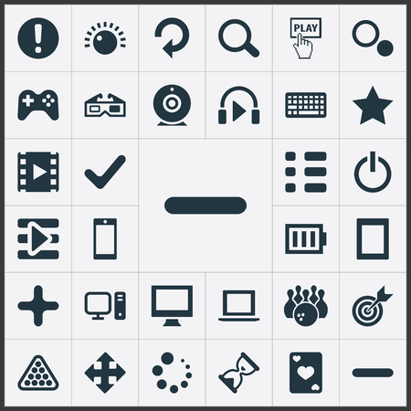 Elements Sound, Ace, Asterisk And Other Synonyms Movie, Camera And Add.  Vector Illustration Set Of Simple Play Icons.