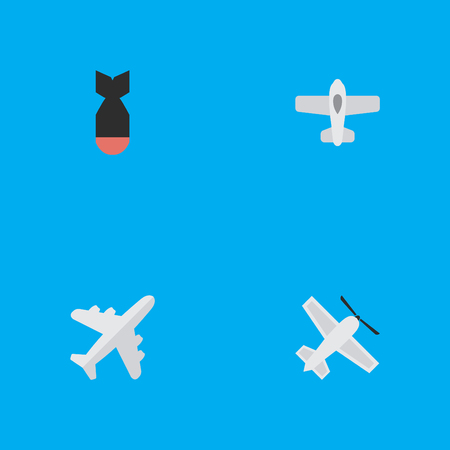 Elements Aircraft, Craft, Plane And Other Synonyms Craft, Bomb And Dynamite.  Vector Illustration Set Of Simple Aircraft Icons. Illustration