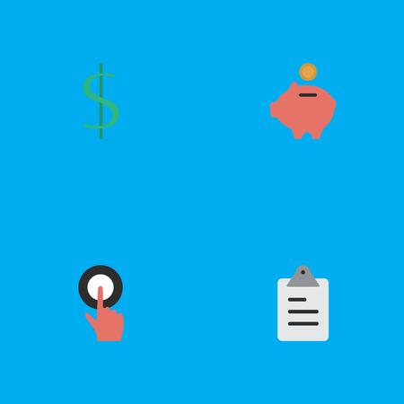 요소 Moneybox, 손가락 감동, 클립 보드 및 기타 동의어 클립 보드, 감동 및 그린 백. 벡터 일러스트 레이 션 간단한 비즈니스 아이콘의 집합입니다. 일러스트