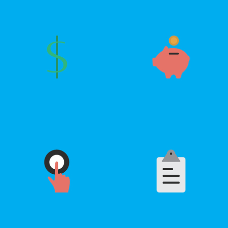 Elements Moneybox, Finger Touching, Clipboard And Other Synonyms Clipboard, Touching And Greenback.  Vector Illustration Set Of Simple Business Icons.