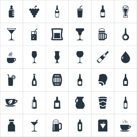 Elements Vineyard, Vodka, Latte And Other Synonyms Vodka, Flask And Thirsty.  Vector Illustration Set Of Simple Beverage Icons. Illustration