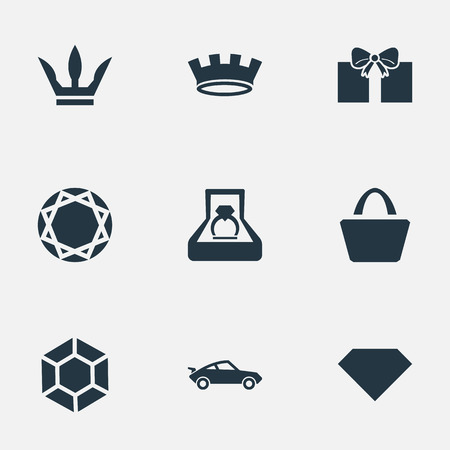Elements Marriage, Gift, Satchel And Other Synonyms Present, Royalty And Diamond.  Vector Illustration Set Of Simple Money Icons.