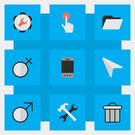 Elements Switch Knob, Mobile Phone, Mars Sign And Other Synonyms Call, Pointer And Male.  Vector Illustration Set Of Simple Menu Icons.