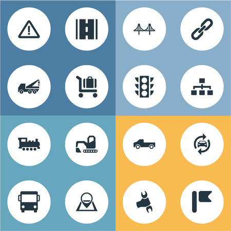 Elements Suv, Bulldozer, Baggage Cart And Other Synonyms Location, Equipment And Locomotive.  Vector Illustration Set Of Simple Transportation Icons.