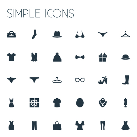 Elements Wellies, Eyeglasses, Waiter Uniform And Other Synonyms Hanger, Galoshes And Thong.  Vector Illustration Set Of Simple Dress Icons.