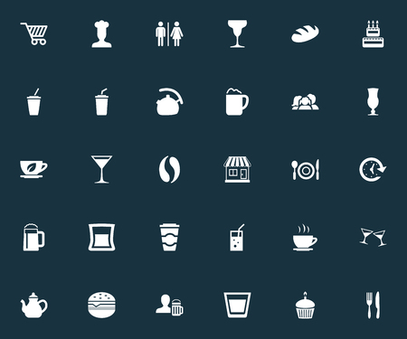 Elements Beerhouse, Lemonade, Ale Pint And Other Synonyms Parents, Celebration And Fizzy.  Vector Illustration Set Of Simple Restaurant Icons. Illustration