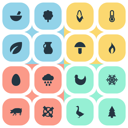 Elements Leaf, Maize, Forest And Other Synonyms Vegetable, Goose And Corn.  Vector Illustration Set Of Simple Nature Icons. Illustration