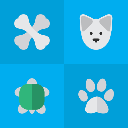Elements Skeleton, Wolf, Tortoise And Other Synonyms Food, Turtle And Foot.  Vector Illustration Set Of Simple Wild Icons. Illustration
