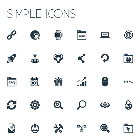 Elements Loupe, Date Block, Detail And Other Synonyms Target, Progress And Optimization.  Vector Illustration Set Of Simple SEO Icons.