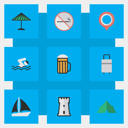 Elements Camping, Mark, Tower And Other Synonyms Swimming, Parasol And Defence.  Vector Illustration Set Of Simple Holiday Icons. Illustration