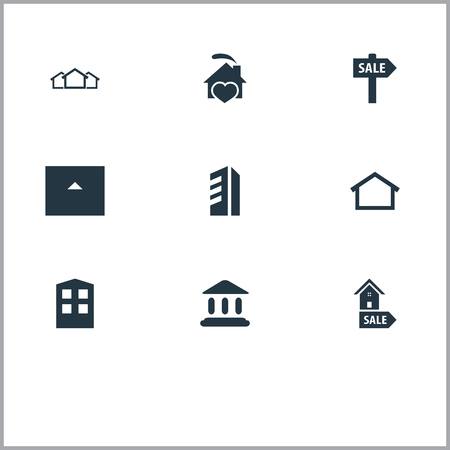 Elements Promotion, Comfort, Construction And Other Synonyms Home, Greek And Heart.  Vector Illustration Set Of Simple Real Icons.