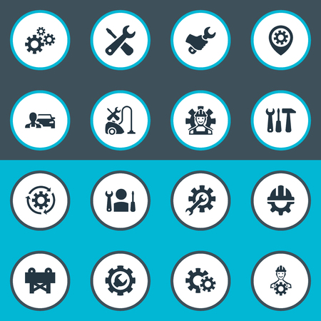 Elements Caution, Specialist, Mending And Other Synonyms Factory, Vacuum And Cogwheel.  Vector Illustration Set Of Simple Fixing Icons.