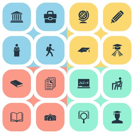 Elements Handbag , Pupil, Cap Synonyms Academy, Handbag And University.  Vector Illustration Set Of Simple Education Icons. 向量圖像