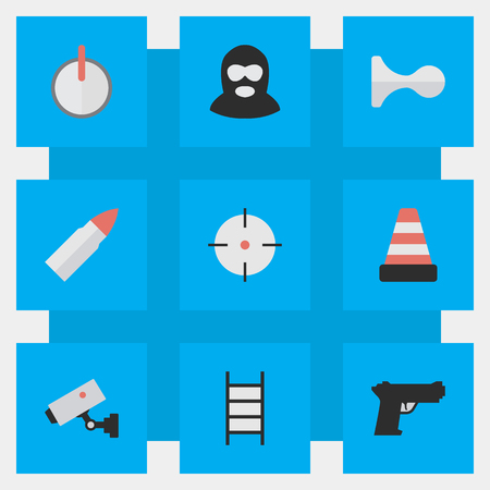 Elements Isolated, Safe, Shot And Other Synonyms Horns, Stairs And Deer.  Vector Illustration Set Of Simple Crime Icons.