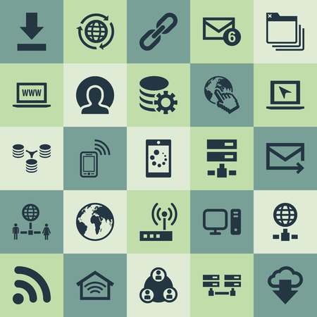 Elements Earth, Server, Wireless Connection And Other Synonyms Spreading, Www And Document.  Vector Illustration Set Of Simple Internet Icons.