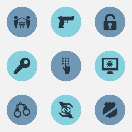 Elemente Passwort, Virus, Wache und andere Synonyme Handschellen, Pistole und Fehler. Vektor-Illustrations-Satz einfache Schutz-Ikonen. Standard-Bild - 82992971