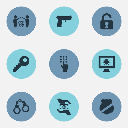 Elements Password, Virus, Guard And Other Synonyms Handcuffs, Pistol And Bug.  Vector Illustration Set Of Simple Protection Icons. Ilustração