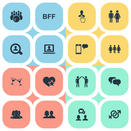 Elements Ensemble, Entertainment, Partner And Other Synonyms Conversation, Beverage And Best.  Vector Illustration Set Of Simple Mates Icons.