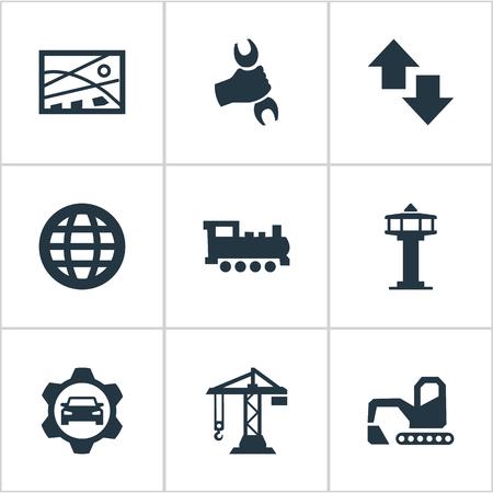 Elements Professional Mechanic, International, atelier de voiture et autres synonymes main, clé et globe. Vector Illustration Set d'icônes publiques simples. Banque d'images - 82992872