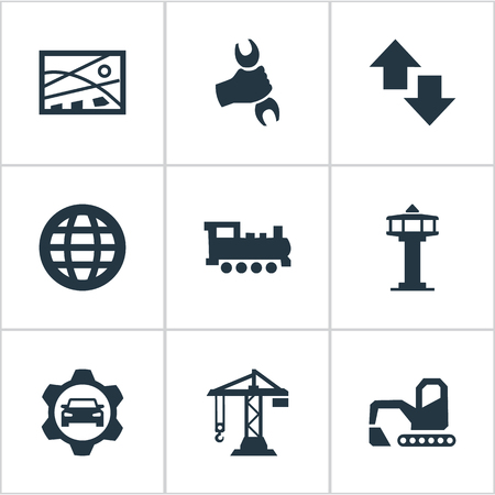 Elements Professional Mechanic, International, Car Workshop And Other Synonyms Hand, Wrench And Globe.  Vector Illustration Set Of Simple Public Icons.
