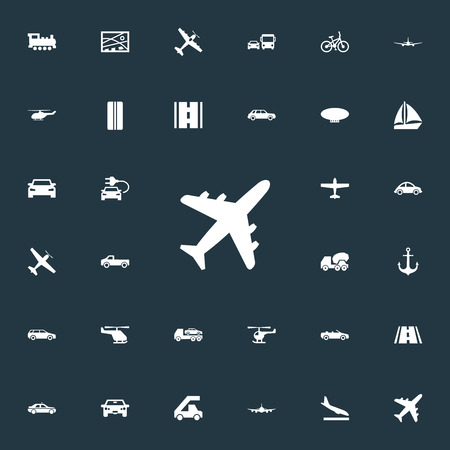 Elements Downgrade, Agricultural Aircraft, Automotive And Other Synonyms Airliner, Ecological And Plane.  Vector Illustration Set Of Simple Shipment Icons.