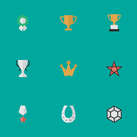 Elements Metal, Corona, First And Other Synonyms Coronet, Crown And Brilliant.  Vector Illustration Set Of Simple Prize Icons.