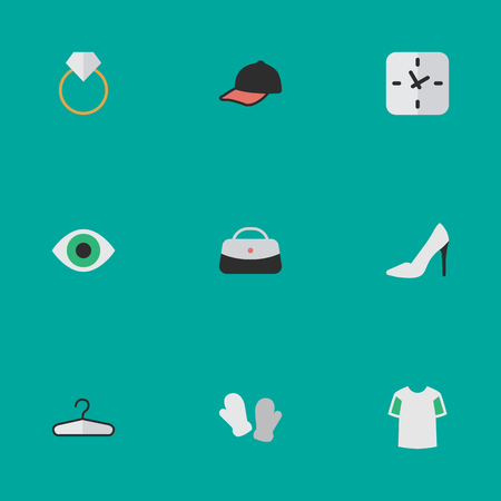 요소 스포츠 모자, 시간, 핸드백 동의어 옷, 약혼 및 핸드백. 벡터 일러스트 레이 션 간단한 장비 아이콘의 집합입니다.