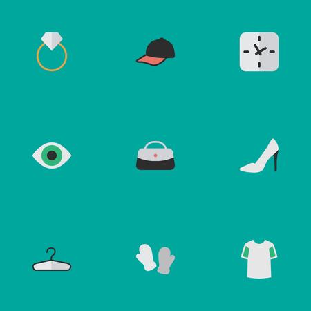 Elements Sport Hat, Time, Handbags Synoniemen Clothes, Engagement And Handbag. Vectorillustratiereeks Eenvoudige Materiaalpictogrammen. Stock Illustratie