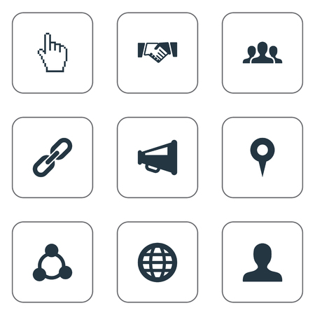 Elements Chain, Team, Web And Other Synonyms Social, Net And Cursor.  Vector Illustration Set Of Simple Social Icons.