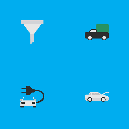 Elements Strainer, Automobile, Charge And Other Synonyms Green, Charge And Strainer.  Vector Illustration Set Of Simple Transportation Icons.