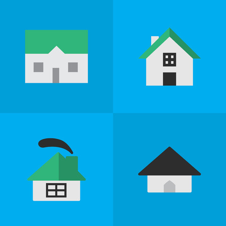 Elements Base, House, Dwelling And Other Synonyms Building, House And Home.  Vector Illustration Set Of Simple Estate Icons. Illustration
