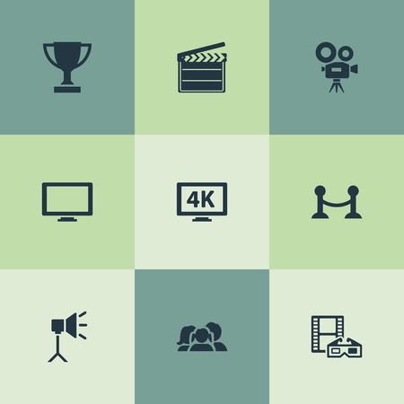 Trophée d'éléments, réalité virtuelle, barrière de corde et autres synonymes, moniteur et projecteur. Illustration vectorielle Ensemble d'icônes de film simple. Banque d'images - 82992888
