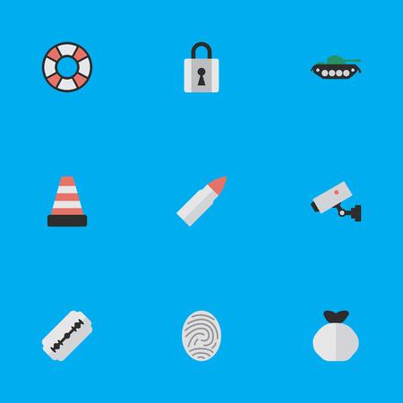 Elemente geschlossen, Aufsicht, Schuss und andere Synonyme Kamera, Rasierer und Schuss. Vektor-Illustrations-Satz einfache Angriffs-Ikonen. Standard-Bild - 82992884