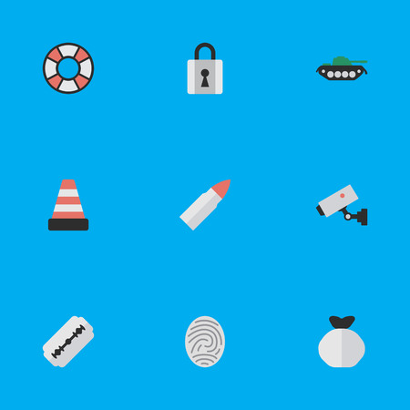 fingermark: Elements Closed, Supervision, Shot And Other Synonyms Camera, Razor And Shot.  Vector Illustration Set Of Simple Offense Icons.