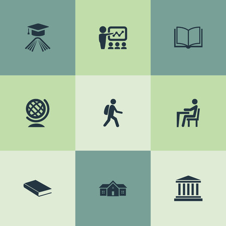 Elements Learning, Pupil, Student And Other Synonyms Jurisprudence, Hat And University.  Vector Illustration Set Of Simple School Icons.