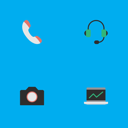 Elements Photo Apparatus, Microphone, Notebook And Other Synonyms Headphone, Photo And Telephone.  Vector Illustration Set Of Simple Gadget Icons. Illustration