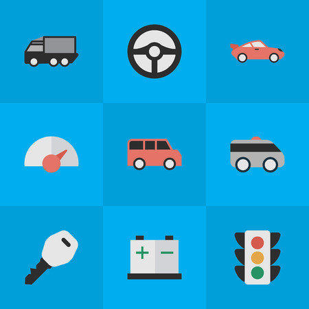 Elements Armored, Lorry, Accumulator And Other Synonyms Truck, Minibus And Counter.  Vector Illustration Set Of Simple Shipping Icons.