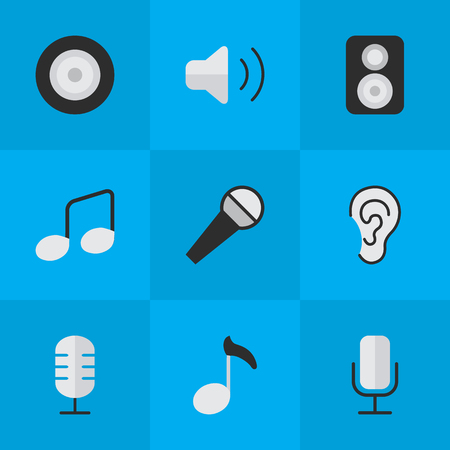Elements Music Sign, Listen, Record And Other Synonyms Make, Speaker And Sign.  Vector Illustration Set Of Simple Melody Icons.