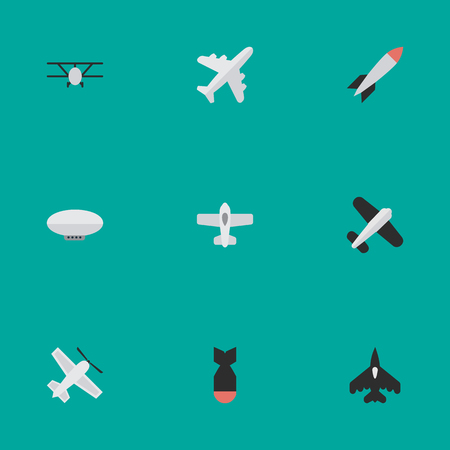 Elements Plane, Bomb, Balloons And Other Synonyms Bomb, Vehicle And Aviation.  Vector Illustration Set Of Simple Plane Icons.