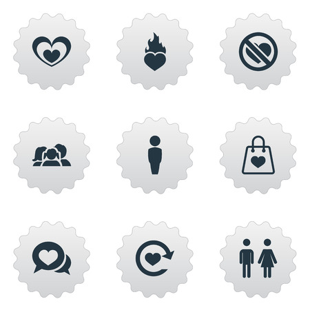 Elements Fire, Dialogue, Protection And Other Synonyms Heart, Prohibited And Chatting.  Vector Illustration Set Of Simple Love Icons.