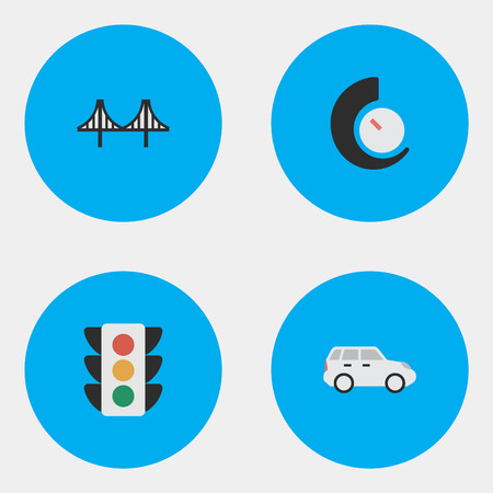 Elements Suv, Speedometer, Bridgework And Other Synonyms Chronometer, Jumper And Lighter.  Vector Illustration Set Of Simple Traffic Icons.