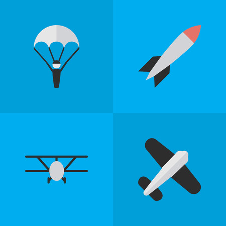 Elements Aviation, Catapults, Bomb And Other Synonyms Bomb, Rocket And Aviation.  Vector Illustration Set Of Simple Plane Icons.