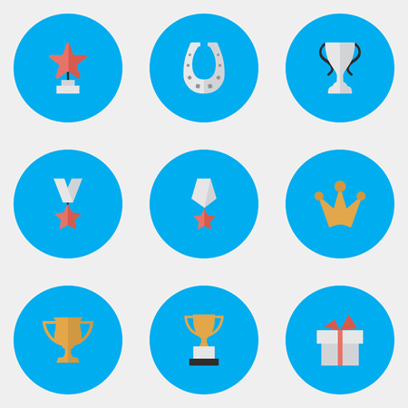 Elements Trophy, Corona, Award And Other Synonyms Star, Chalice And Present.  Vector Illustration Set Of Simple Champion Icons.  Illustration