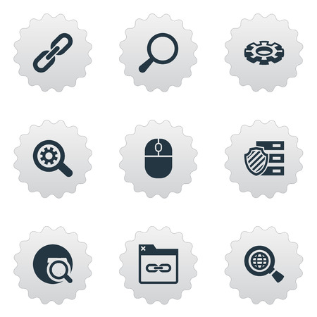 Elements Detail, Linkage, Loupe And Other Synonyms Globe, Link And Gear.  Vector Illustration Set Of Simple Search Icons.