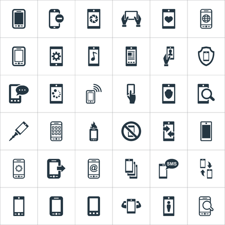 Elements New Version, Front Camera, Portable Connector And Other Synonyms Camera, Chat And Internet.  Vector Illustration Set Of Simple  Icons.  Çizim