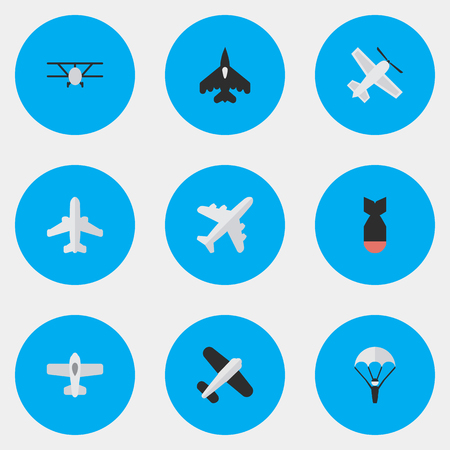 Elements Airliner, Catapults, Aircraft And Other Synonyms Rocket, Craft And Flying.  Vector Illustration Set Of Simple Airplane Icons.